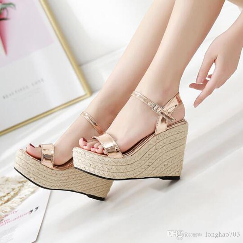 6387a9682d5 gold wedge sandals for women high heels wedges casual shoes open toe  sandals high heels Wedges shoes platform sandals YMA720