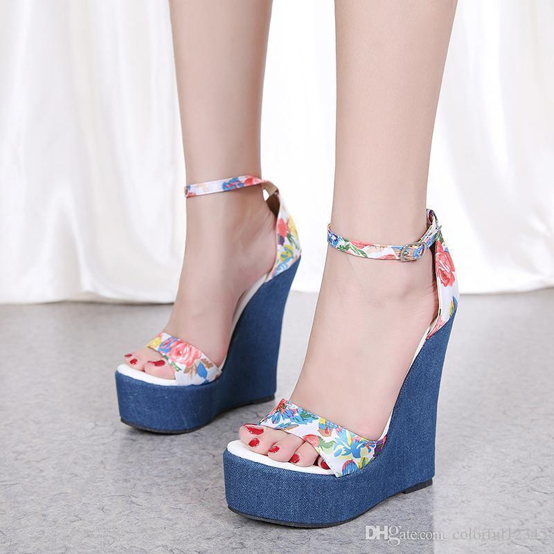 cc088b4aa1c Sexy2019 Romantic Blue Floral Printed High Heels Platform Wedge Shoes  Ladies Summer Sandals Size To Clogs For Women Cheap Shoes Online From  Bellebeast