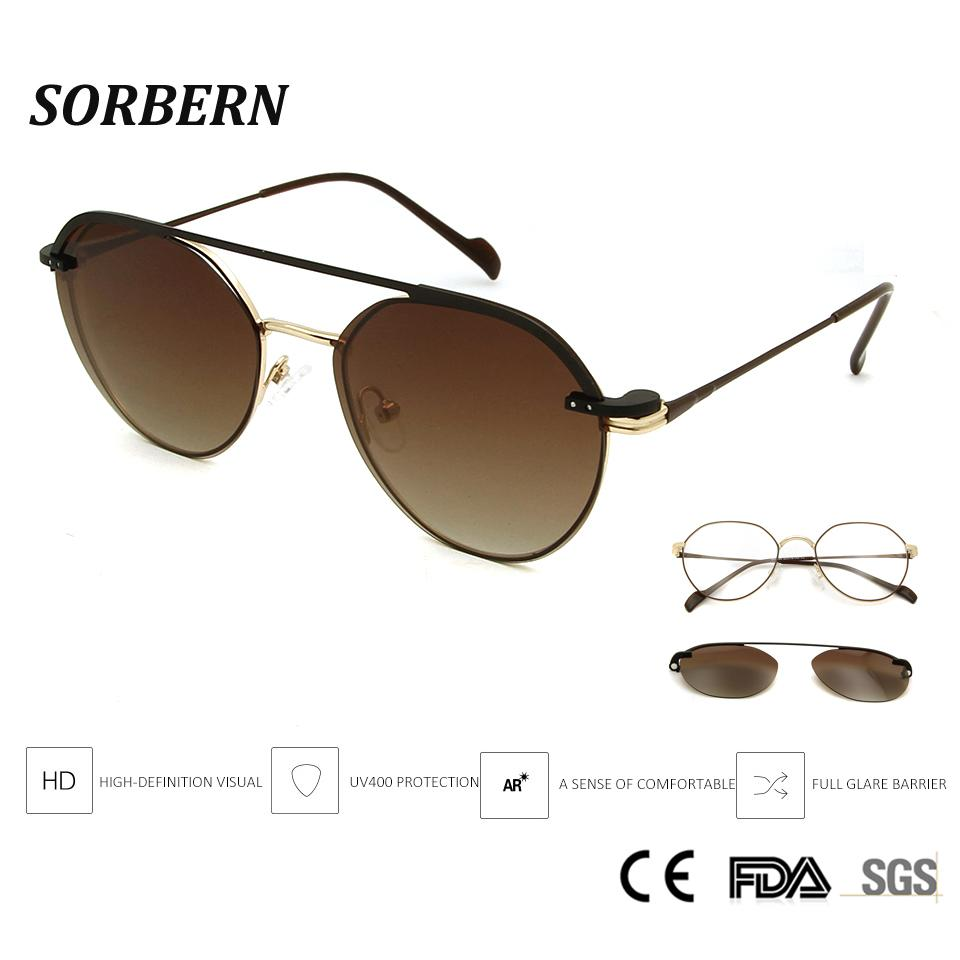 8aebfcf266 SORBERN Retro Round Steampunk Optical Frames Women Men Eyeglasses With  Magnets Clip On Sunglasses UV400 Goggles Light Eyewear Prescription  Sunglasses Online ...