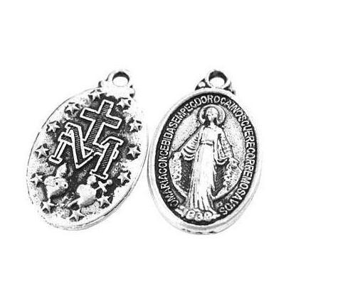 Vintage Silver Cross Medal Virgin Mary Charm Pendants For Bracelet Necklace Fashion Jewelry Making Beads Accessories Handmade Gifts 150Pcs