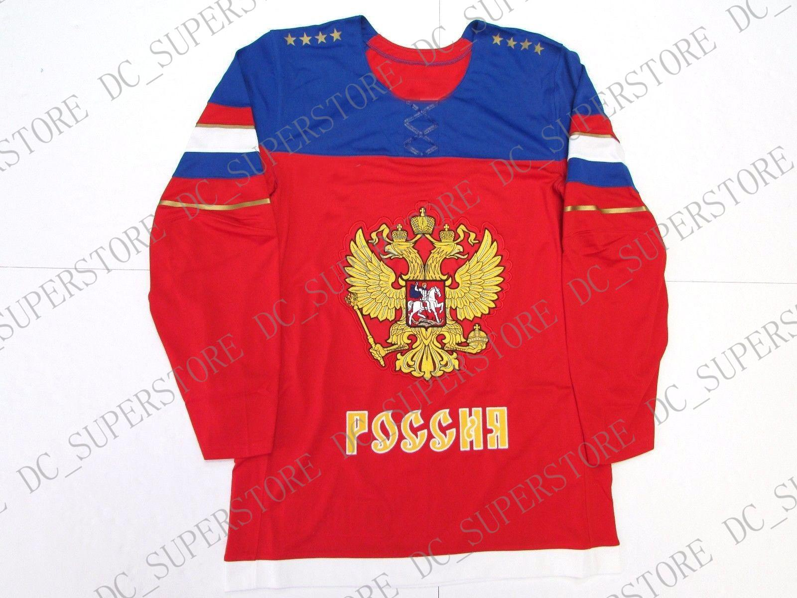 Günstige benutzerdefinierte TEAM RUSSIA RED 2014 SOCHI WINTER OLYMPICS HERREN EISHOCKEY JERSEY Stich addieren Sie irgendeine Zahl jeden Namen Mens