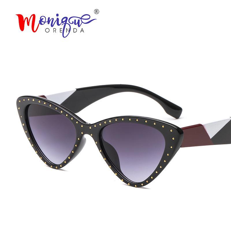 427ea31e2ba Luxury Cat Eye Sunglasses Women Vintage Rivet Sun Glasses Men Female ...