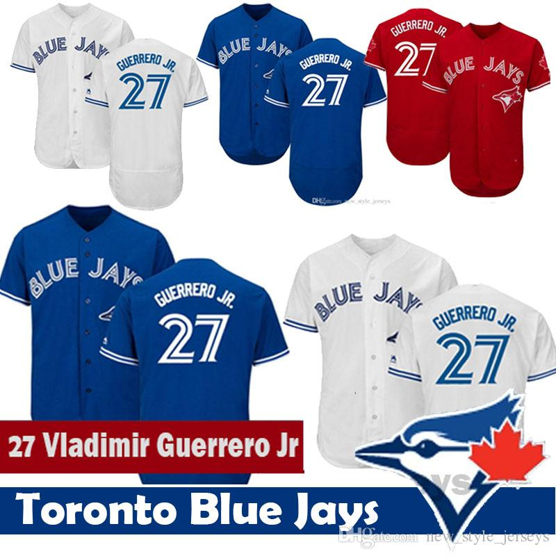 ea7ca04a695 2019 2019 Toronto 27 Vladimir Guerrero Jr Jersey Men Blue Jays Baseball  Jerseys Blue Red Flex Base Stitched Baseball Jerseys From  New style jerseys