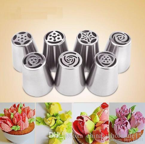 7PCS Stainless Steel Russian Tuli Nozzles Pastry Decorating Tips Cake Cupcake Decorator Rose Kitchen Accessories