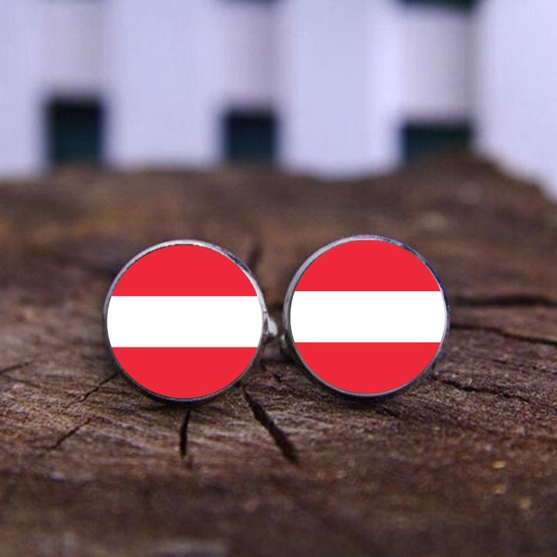 World National Flag of Austria Cufflinks Silve Cuff links men and women Accessories Antique Vintage Women Man Shirt cufflinks