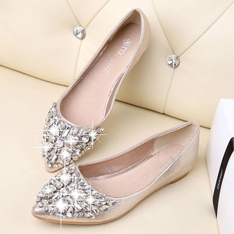 4ae4f3e1c Fashion Women Ballet Shoes Leisure Spring Pointy Ballerina Bling Rhinestone  Flats Shoes Princess Shiny Crystal Wedding Shoe Shops Brown Shoes From  Hotbuybuy ...