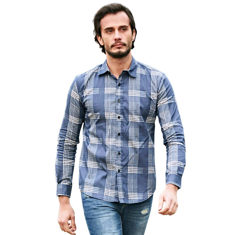 b4ee205d 2019 Men Casual Shirt Long Sleeve Plaid Shirts Mens Dress Shirt Brand Casual  Denim Style Checks Blue Shirts From Sinofashion, $29.44 | DHgate.Com