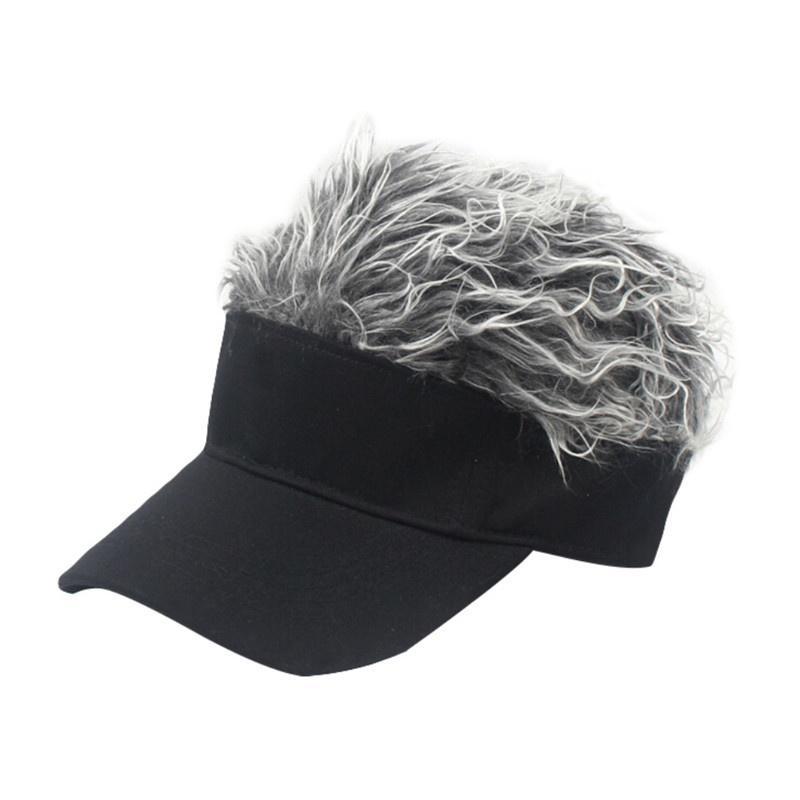 71eca11b8 Men Women Unisex Sunshade Golf Cap Baseball Outdoor Sports Fake Flair Hair  Sun Visor Hat