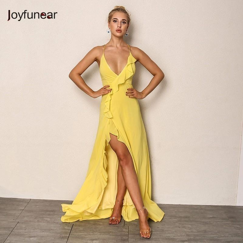 79bb62d3e2a4 Acquista Joyfunear Sexy Summer Dress Women Chiffon Bodycon Maxi Dress V Neck  Bandage Abiti Da Festa Eleganti Long Woman Vestidos De Fiesta Y190117 A   22.41 ...