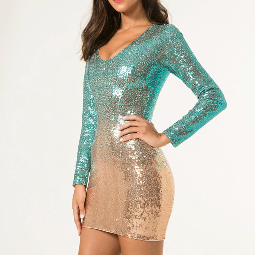 6ef614e7982d 2019 Women Sequin Dress Long Sleeve Gradual Sequined Sexy Party Dress  Summer V Neck Dresses Vestido Female Bodycon Short Dresses From Lany0128,  ...