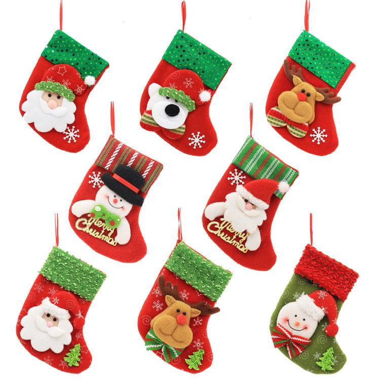 Christmas Stocking Bag Xmas Tree  Claus Candy Mini Sock Santa  New Year Decor