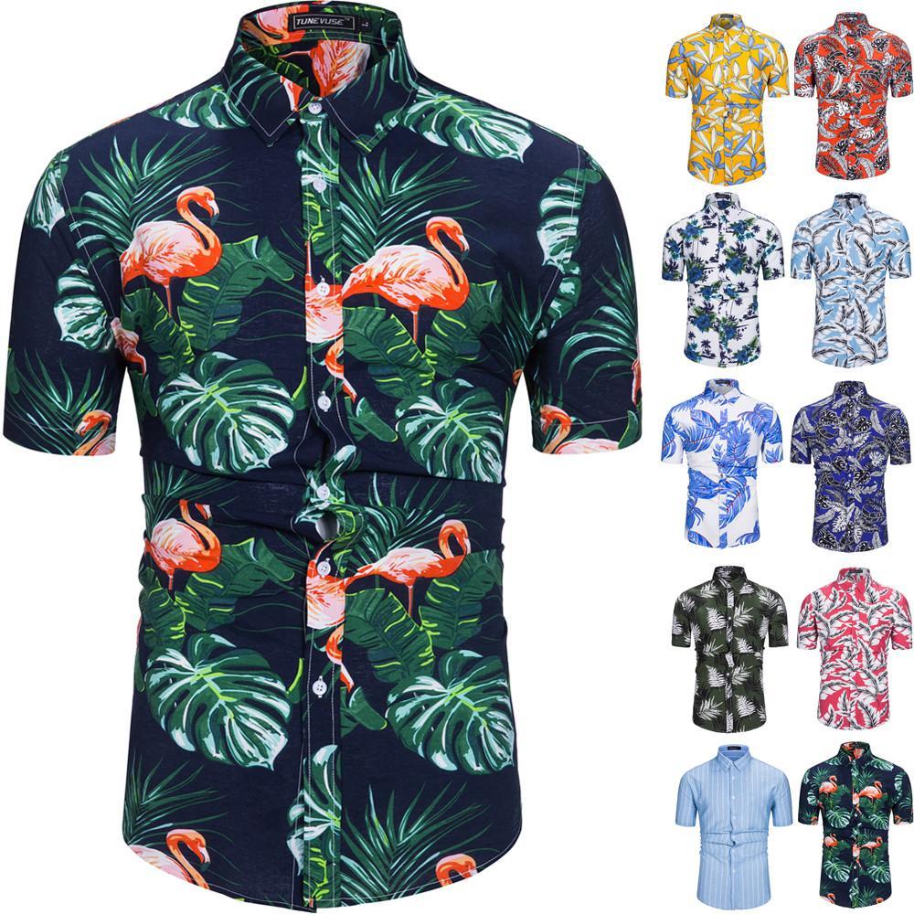 the latest bae05 c9cb2 Camicie hawaiane mens del cotone di 100% Camicia maschio casuale Camisa  Masculina ha stampato le camice della camicia del partito di estate della  ...