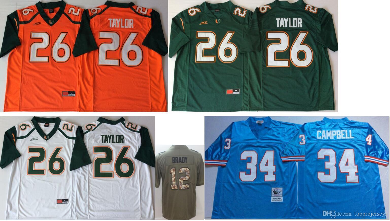 best service 3d480 c8ec8 Miami Hurricanes #26 Sean Taylor Mens Vintage College Salute to service #12  Tom Brady Color Rush American Elite Football Jerseys Cheap