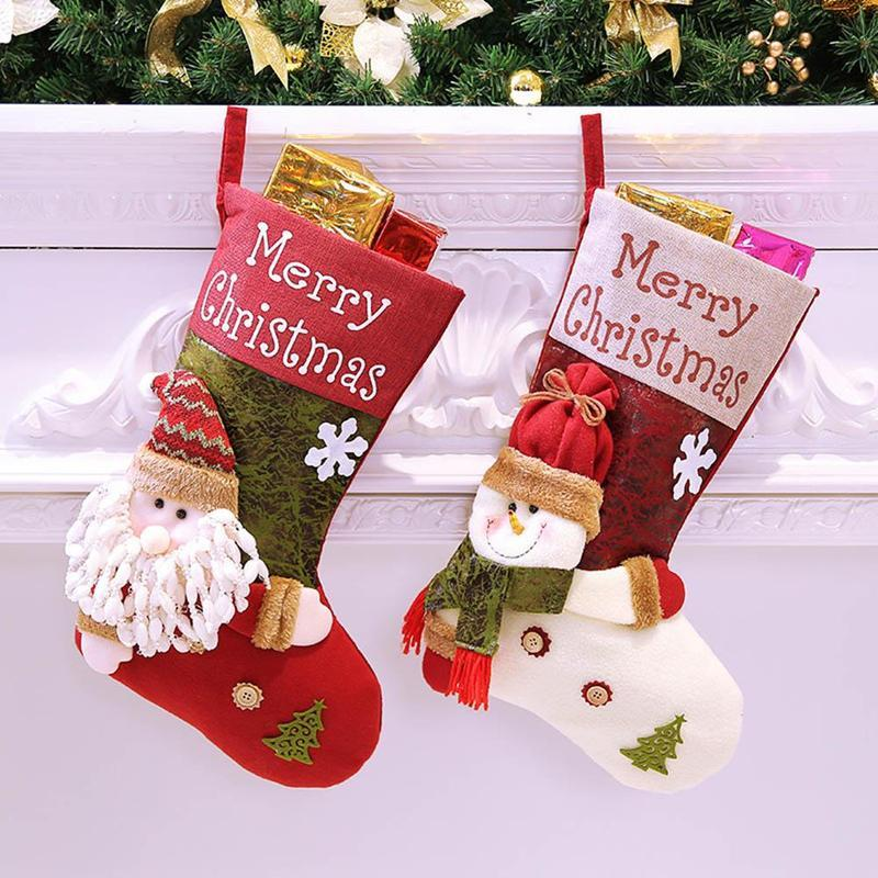 Large Christmas Stockings Gifts Cloth Santa Elk Socks Xmas Gift BagFor  Children Fireplace Tree Christmas Decoration 47x29cm