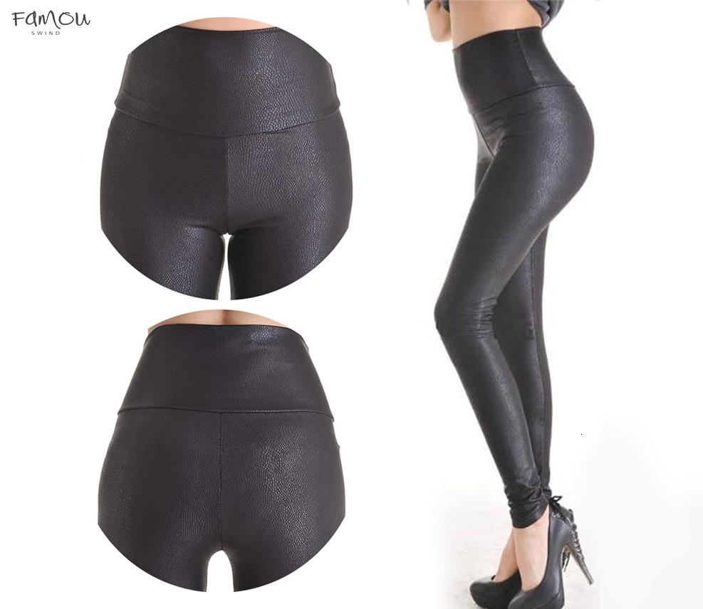 Sale Yak0010 New Fashion Serpentine Leggings Womens Leggins Stretch High Waist Quality Faux Leather Pants Plus Size
