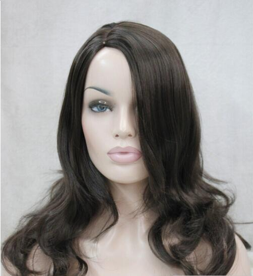 FREE SHIPPING+ + Excellent Dark Brown Medium Long Wavy Women Ladies fluffy wig