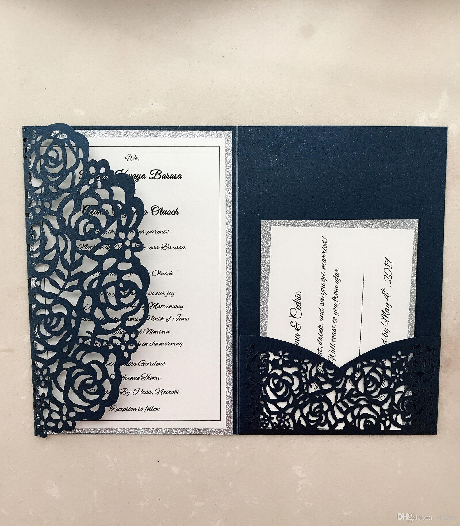 Real Made Laser Hollow Personal Design Wedding Invitation
