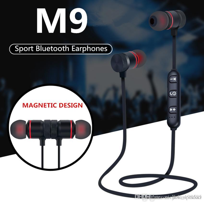 2a9ce9e3e30 M9 M90 Bluetooth V4.1 Wireless Sport Running Earphone Stereo In Ear Magnet  Earbuds With Microphone Earphone For Iphone Sumsang Xiaomi Phone Headsets  ...