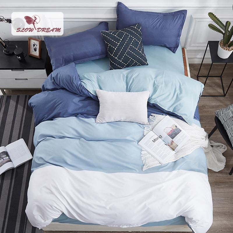 SlowDream Sea Clolor Blue Bedding Set Decor Quilt Cover Nordic Home Bedding  Bedspread Flat Bed Sheet Duvet Cover Set Bedcloyhes Modern Duvet Cover  Queen ...