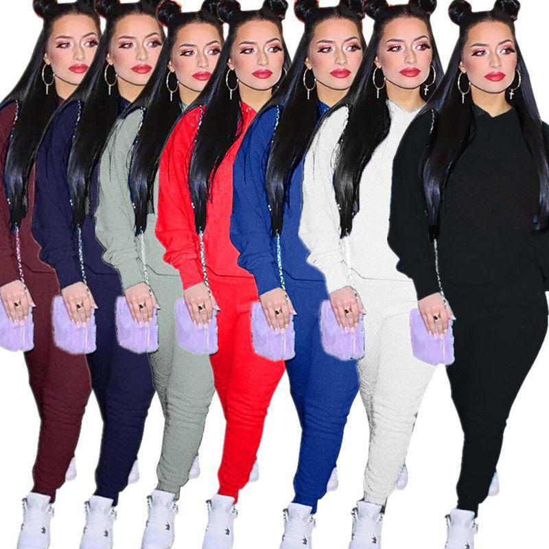 8ad76bfdc746 Diseñador de la marca mujer sudadera con capucha de chándal de invierno  conjunto de dos piezas trajes sudaderas leggings suéter traje pantalón ...