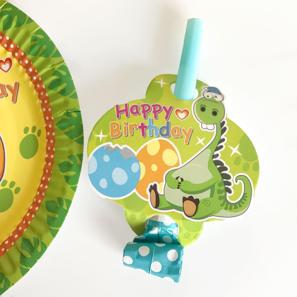 Bande Dessinée Dinosaur Party Jetable Vaisselle Assiettes Chapeaux Paille D'anniversaire Décorations de Fête Enfants Garçon Vert pour 6 Personne