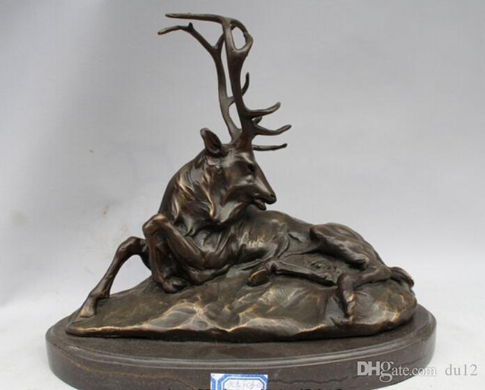 Großhandel Fabrik Elk Stag Buck Deer Wildlife Art Hütte Lodge Sportler Art Bronze Marmor Statue