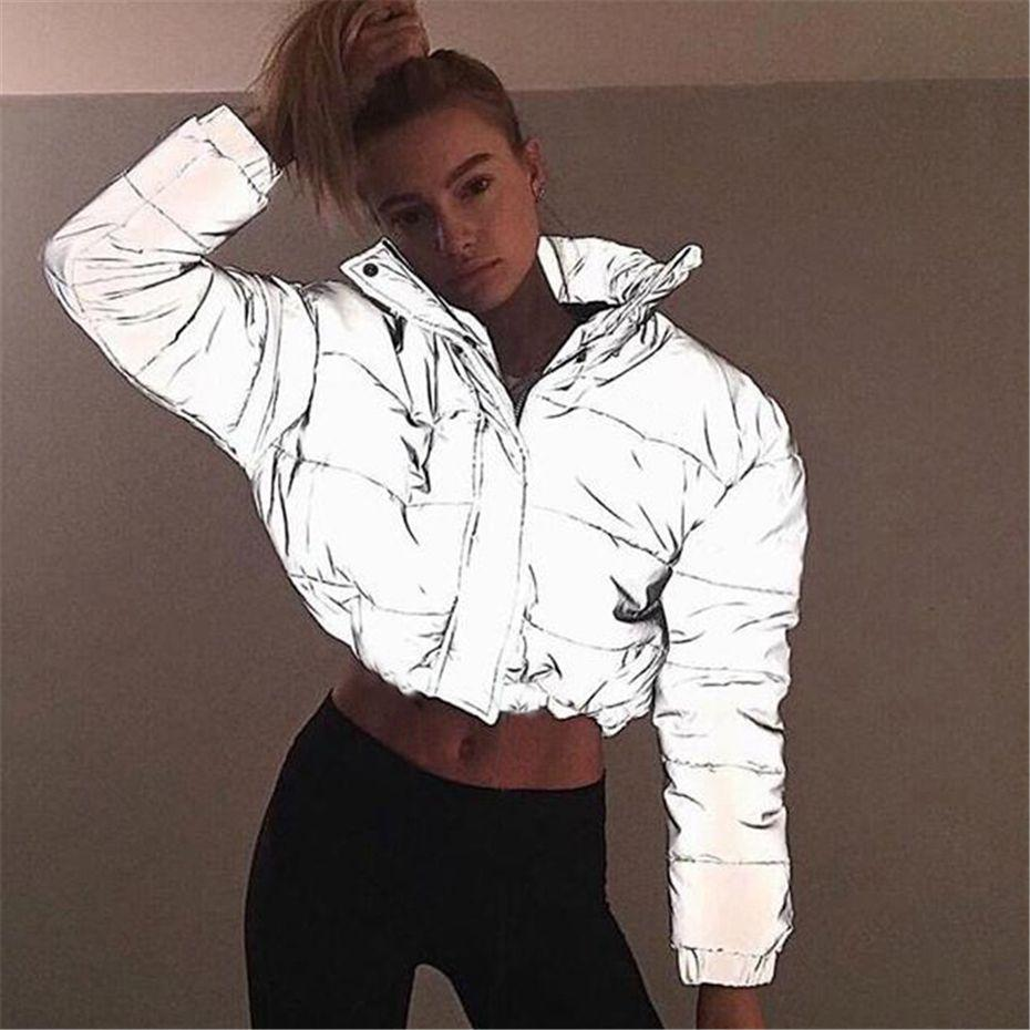 great quality first rate promo code HAOYUAN Women Cropped Puffer Padded Jacket Fashion Plus Size Winter Thick  Reflection Bubble Coat Female Warm Loose Zipper Parkas