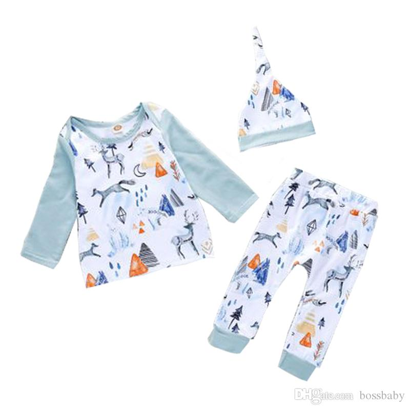 Kids Suits Baby Sets Winter Snow Elk White Bear Printing Long Sleeve Round Neck Trousers Hat Three-piece Suit 32