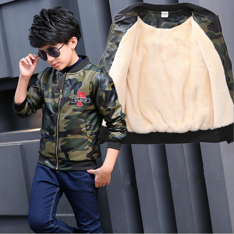 48f450125a15 Winter Boy Jacket PU Leather Thicken Kids Clothes Teenagers Baby ...