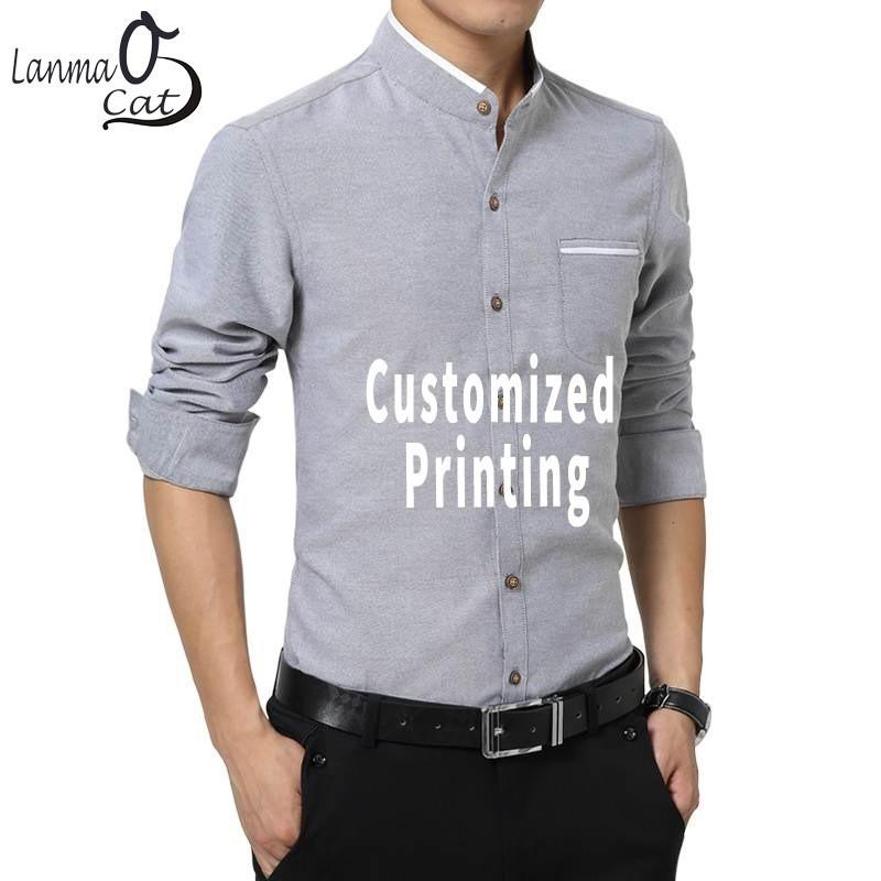 866ce1e6 Lanmaocat Mens Business Shirts Slim Fit Stand Collar Casual Shirt Custom  Design Printing Casual Shirts Big Size Shirt T Shirt Funny T Shirts Cheap  From ...