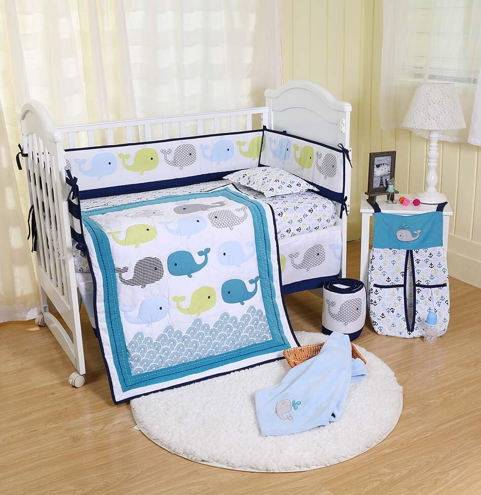 5pc Embroidery Disney Baby Finding Nemo Crib Bedding /& Bumper Set Infant Nursery