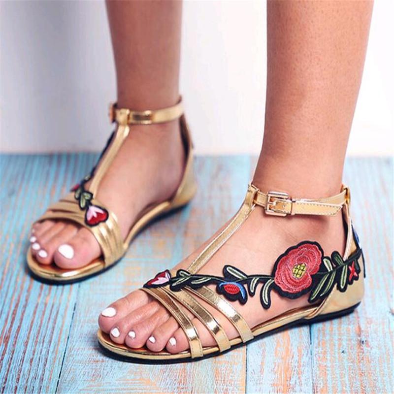 2019 Moda Rosa De Para Las Señoras Zapatos Casuales Bordado Mujeres Sandalias Floral Envío Plana Mujer XZTwuOkPi