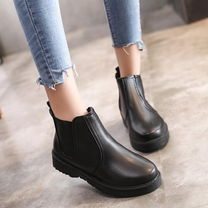 d37e4306 Compre COOTELILI PU Botines De Cuero Para Mujer Negro Marrón Tallas Grandes  Zapatos Planos De Plataforma Mujer Cómodo Slip On Boots Mujer 35 40 A  $23.99 Del ...