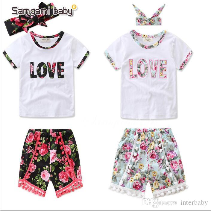 450a48b3943 2019 Baby Clothes Girls Summer Suits Kids Ins Floral Clothing Sets ...
