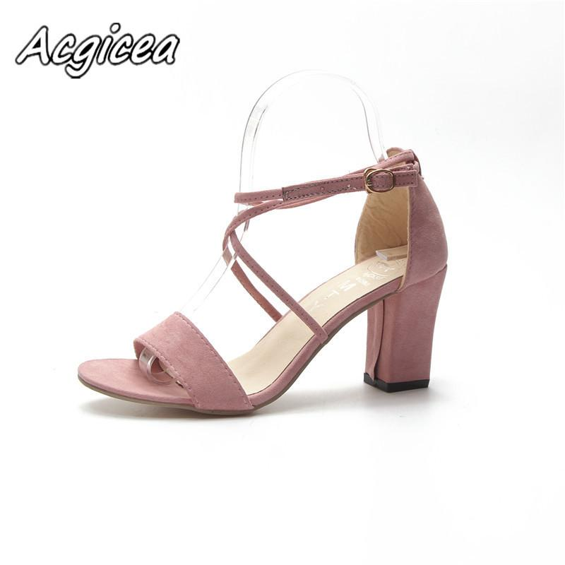 9f3b7c8d4d6 Designer Dress Shoes 2019 New Sandals Female Summer Fashion Student Sandals  Word Bandage Thick With High Heeled Flock F030 Boots For Men Wedge Shoes  From ...