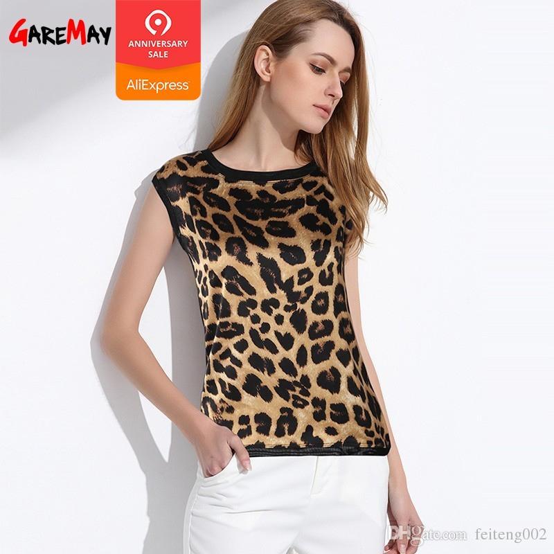 8849837d46 Camicetta di seta leopardata Camicetta elegante in chiffon senza maniche  stampata Camicetta di leopardata Camicetta di raso di seta Camicette e ...