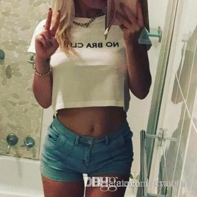 2020 camisa New Sexy colhido t T-shirt Imprimir Mulheres NO BRA CLUB Mulheres Moda Cotton camiseta Femme Top Curto Roupa Mulher