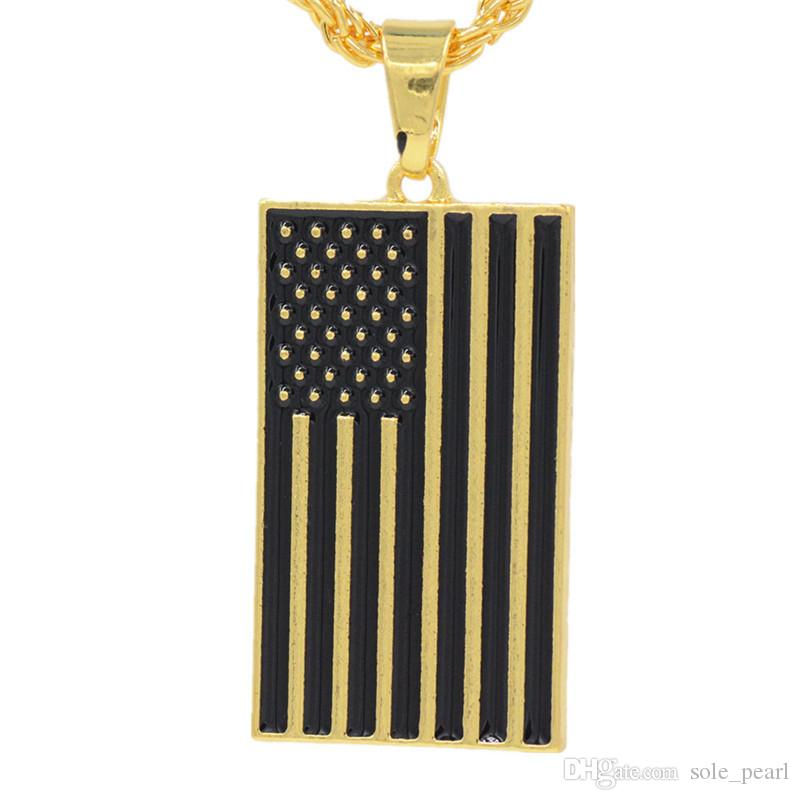 2018 Newest Mens necklace hip hop jewelry two Dripping oil chains Retro High grade American flag Pendant necklace alloy jewelry wholesale