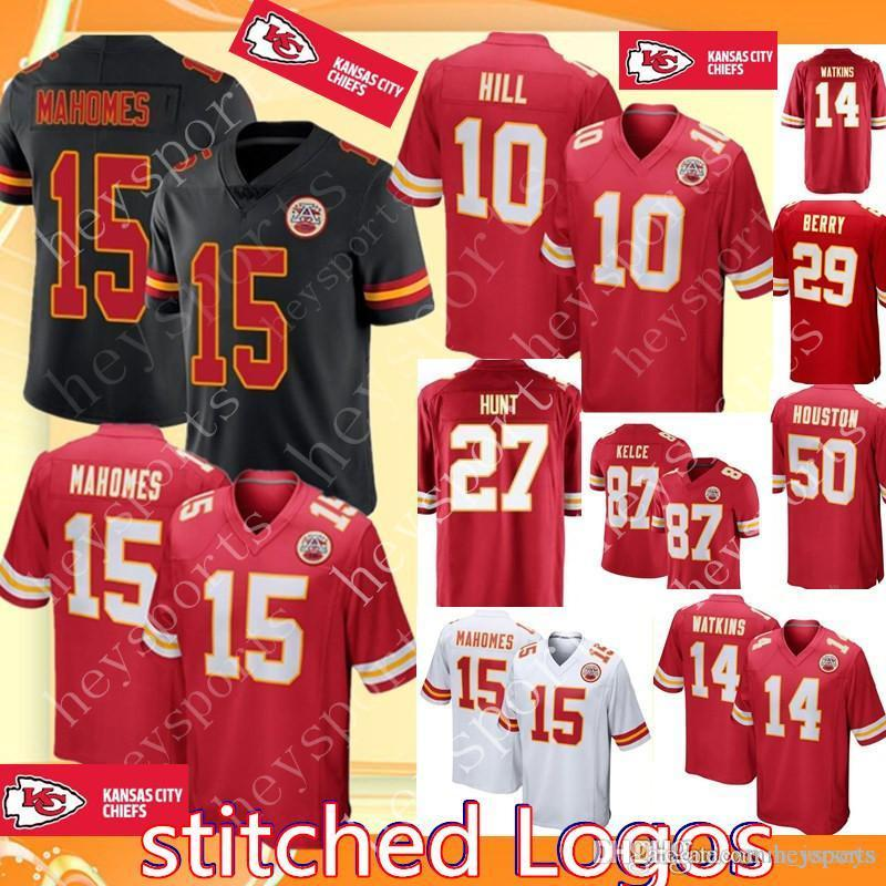 reputable site fec88 6642c Chiefs 15 Patrick Mahomes Jersey Kansas City Chiefs 27 Kareem Hunt 10  Tyreek Hill 87 Travis Kelce 14 Sammy Watkins 29 Berry Football Jerseys