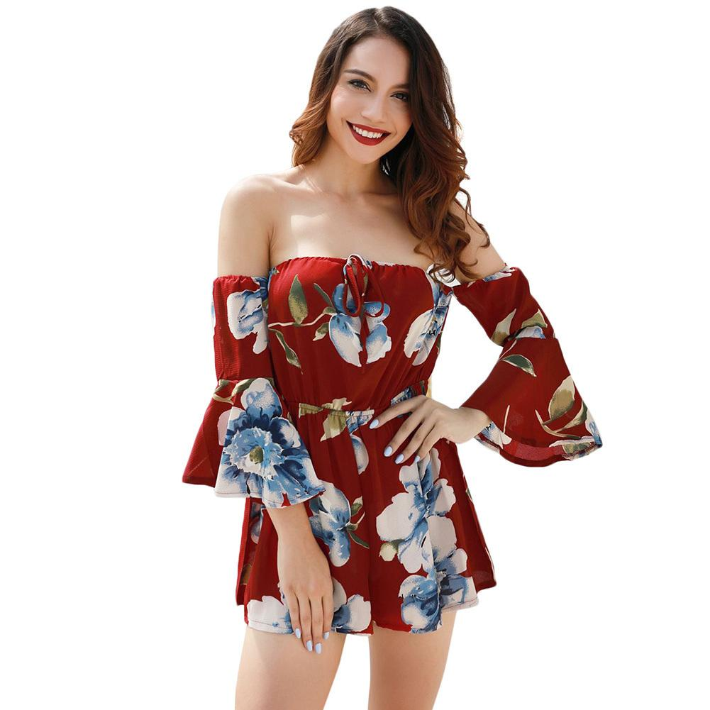 7efc12f2ebb2 2019 Womens Flare Long Sleeve Playsuits Sexy Women Jumpsuit Floral Print Off  Shoulder Bell Sleeves Backless Casual Playsuit Rompers From Jincaile02