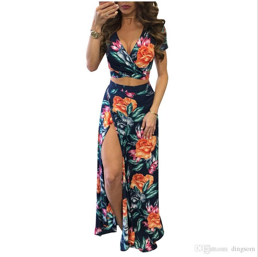 e982e457e Compre Mujeres Vestidos Largos Largos De Verano Conjunto Elegante De Dos  Piezas Sexy Hollow Out Crop Top Faldas Estampado Floral 2 Piezas Trajes A  $30.26 ...