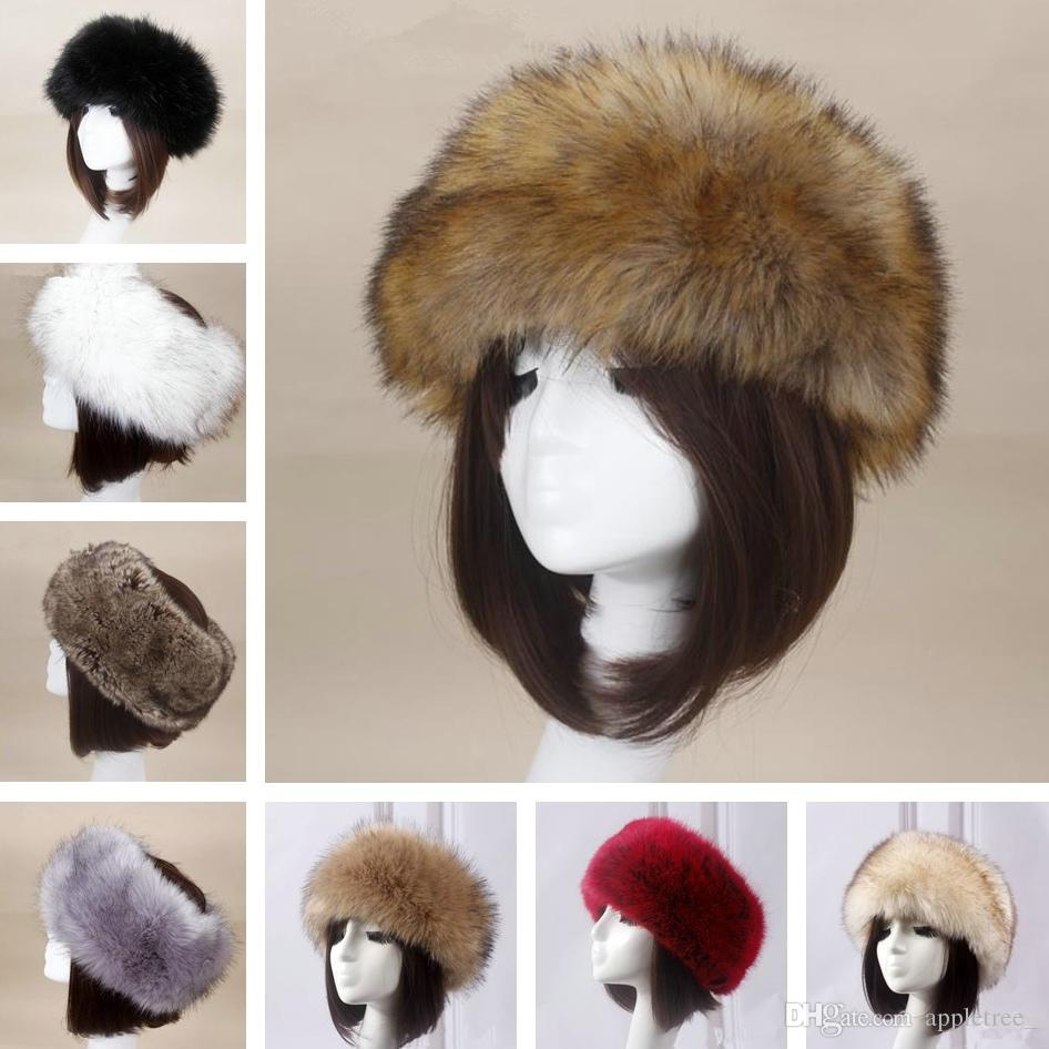 f0e275a83 Women Faux Fox Fur Hat Winter warm Cap Luxury headwear female hats caps  Adjustable Headband womens Ear warmer earwarmer Girls Earmuff
