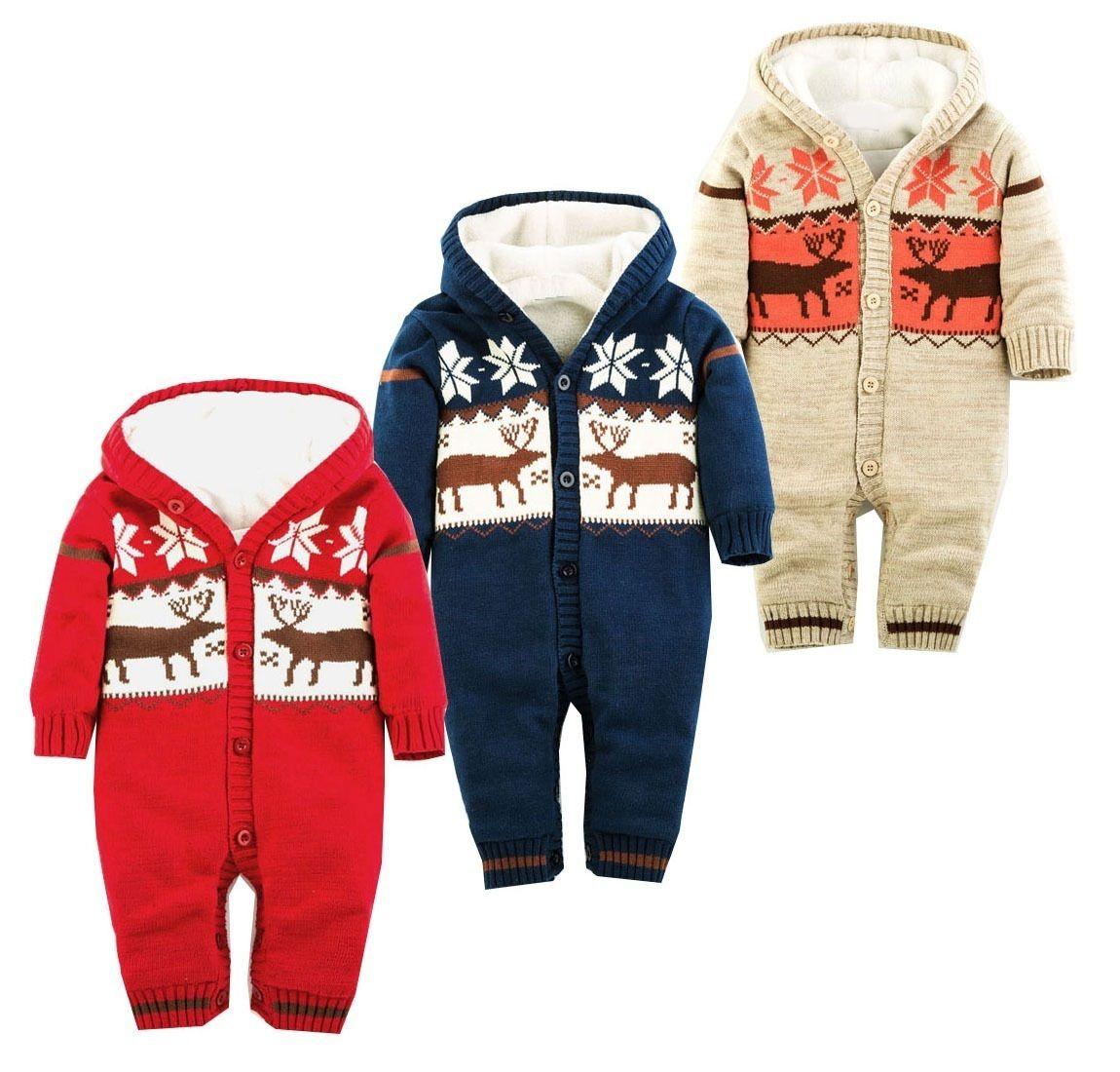2607dd9d7a3d96 Outono Inverno Romper Do Bebê Do Natal Cervos Grosso Roupas de Bebê  Recém-nascido Com Capuz Bebê Menina Macacão Meninos Roupas Infantis Traje