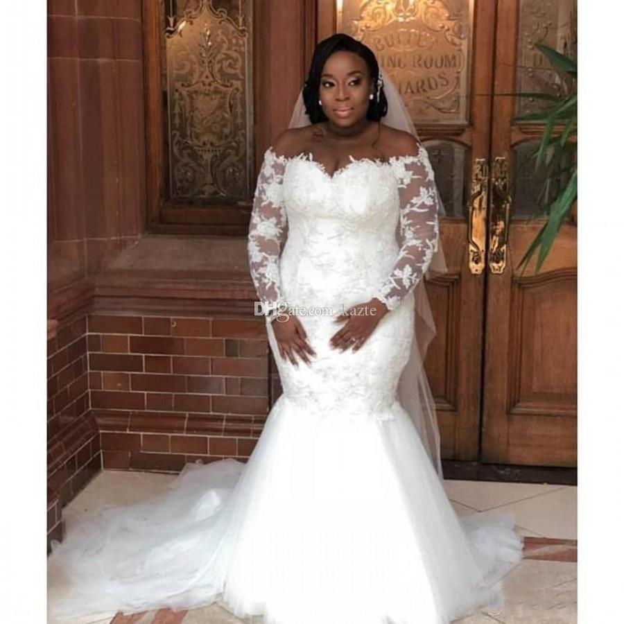 Plus Size Wedding Dresses with Long Sleeve 2019 Full Lace Applique Sheer  Neck African Mermaid Garden Castle Bridal Gown