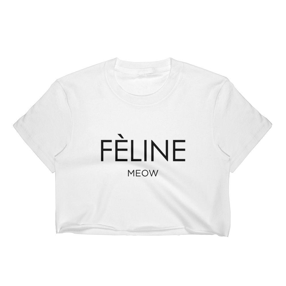 18925242a763 FELINE MEOW CROP TOP T SHIRT WOMENS FUNNY HIPSTER SLOGAN LADIES CUTE CAT SUMMER  Funny Unisex Casual Tee Shirts Sale Designable T Shirts From  Fastshipdirect