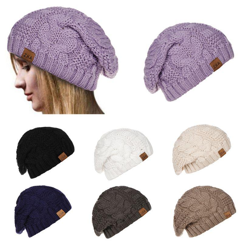 70dd81a31 Women Stretch Knitted Hat Messy Bun Warm Cap Winter Oversized Chunky Soft  Knitted Lazy Cap Cambric W77