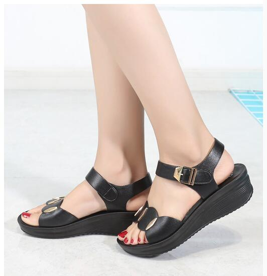37bcd6dc04f Fashion Womens Low Heel Sandals PU Leather Solid Strap Women Sandals  Non-slip Summer Shoes