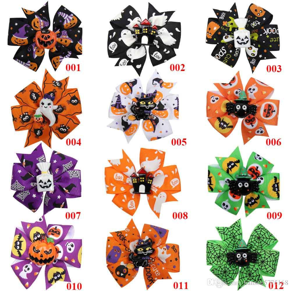 "3""Pumpkin Printed Ribbon Hairbows Girls Halloween Dance Party Hair Clip Kids Hairgirps Barrettes Hair Accessories"