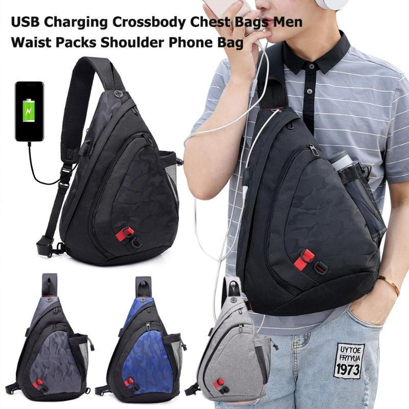 Charging Men Chest Bags Waterproof Nylon Shoulder Bag Large Casual Male Crossbody Outdoor Bag Women Travel Waist Back Packs USB
