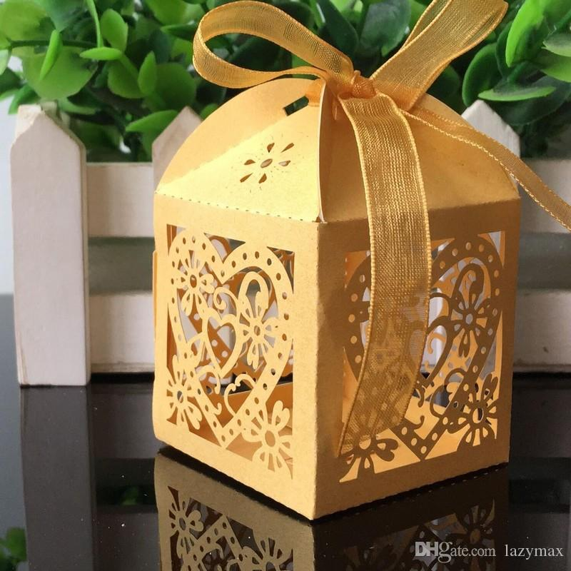 5*5*8CM Love Candy Chocolate Box With Ribbon 8 Colors Paper Laser Hollow Gift Box For Party Wedding Favors Packing Case 100 Pieces ePacket